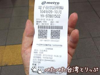 地下鉄駅の券売機で悠遊カードをチャージ(領収書)