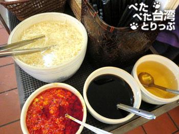 杭州小籠湯包の調味料コーナー