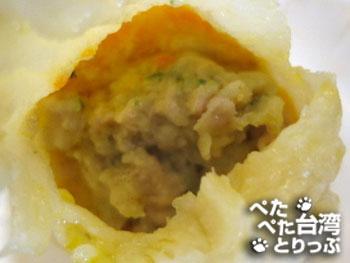 杭州小籠湯包の蟹黄湯包(中身)