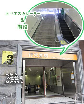 Kホテル台北松江館へのアクセス MRT行天宮3番出口から