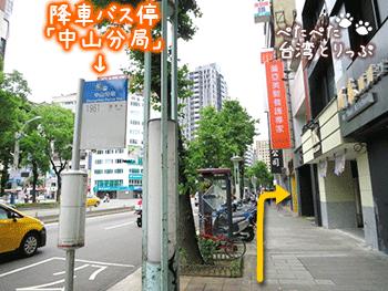 桃園空港からホテルロイヤルイン台北までのバス停 中山分局