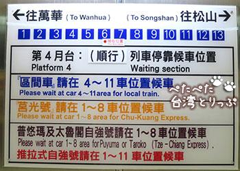 九份方面のホーム(台北駅)