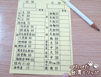 金峰魯肉飯の注文票