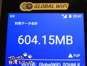 グローバルWiFiのデータ使用量超過