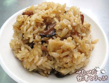 基隆廟口夜市 呉記螃蟹羹(5番)の油飯(台湾風おこわ)