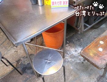 基隆廟口夜市 圳記の紅燒鰻羹のテーブル